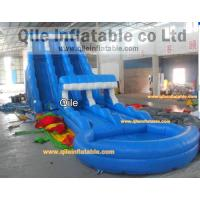 Buy cheap long wave slide inflatable wet & dry slide with pool,pool can removed ,double wave slide from wholesalers