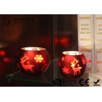 Quality painted ball shape glass candle holder with laser picture with LED tealight for sale