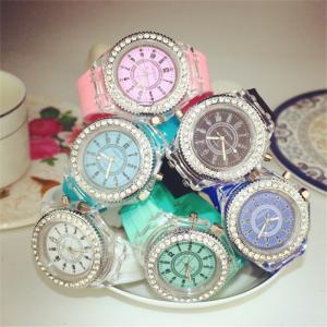 Quality wholesale New led light geneva diamond stone crystal watch unisex silicone jelly for sale