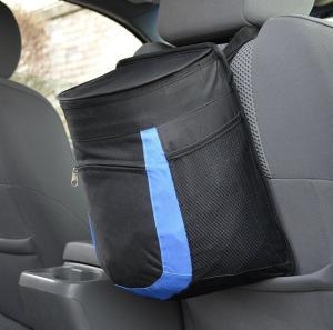Nylon Foldable Car Trash Bag With Bottle Holders And Extra Storage Pocket Manufactures