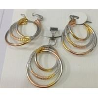 Costume Jewelry Three Color Pendant and Earrings Fashion Jewelry Sets for Women Manufactures