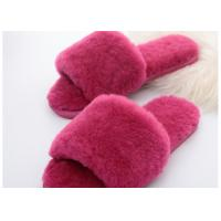 Wool Lining Womens Fluffy Slippers , Pink Warm Fuzzy Slippers Rubber Sole Manufactures