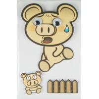 China Offset Printed Running Piggy 3D Cartoon Stickers For Mobile Phone Decor on sale