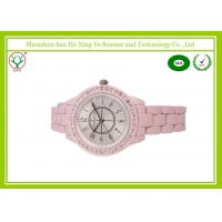 China Fashion Charm Quartz Women Watches , Pink Pottery Strap Girl Watches on sale