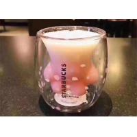 Starbucks Handmade Cat Claw Cup / Pink Color Glass Coffee Cups For Gift Manufactures