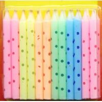 Macaron Color Litte Colorful Dot Printed Birthday Candles Manufactures