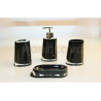 China Contemporary Black Square Acrylic Bathroom Set Tumbler Soap Dish For Home on sale