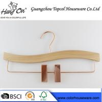 Quality Rose Gold Wooden Trouser Hangers With Clips / 30 ~ 36cm Bottom Hangers for sale