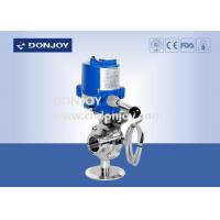 China Stainless steel sanitary level butterfly valves of ball type with electic actuator on sale