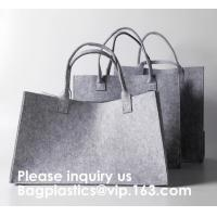 Promotional Custom Made Silk Screen Printing Tote Felt Bag, Shopping Bag,Beach Bag with Leather Handle Shopping Women Ba Manufactures