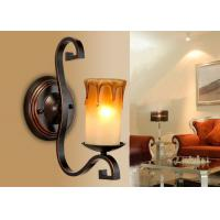 Hotel Corridor Art Deco Wall Lights With Candle Blown Glass Shade , Bathroom Wall Lamp Manufactures