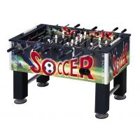 With PVC foosball soccer table, very stable, steel playing rods with handles