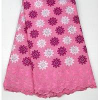 Swiss Cotton Lace Fabric , Multi Colored Embroidered Floral Lace Fabric For Abayas Manufactures