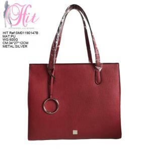 China Women Handbag Designer Red Color Ladies Leather Tote Bag on sale