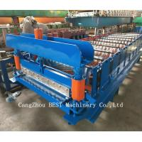 Corrugated Roof Sheet Steel Making Roll Forming Machine Hydraulic Cutting Manufactures