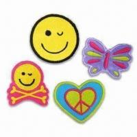 Satin Fabric Patches/Embroidery Badges, Used for Children's Clothes and Garments Manufactures
