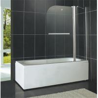 Shiny Silver Pivot Shower Doors 6MM Tempered Glass With One Fixed Glass for Bathtub Manufactures