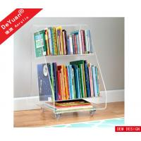 Custom Acrylic Holder Stand Easy Moving Two Layer Clear With Wheels Manufactures