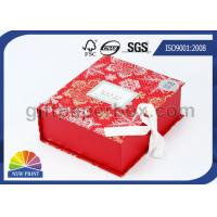Popular Design Printed Luxury Paper Gift Box , Red Flat Pack Gift Set Fold Paper Box Manufactures