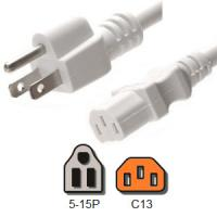 White Computer Power Cord 10 Amp American NEMA 5 15P to IEC C13 18 / 3 AWG Manufactures