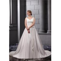 Elegant V Neck Satin White Ruffle Plus Size Wedding Gowns With Sash Long Bridal Dresses Manufactures