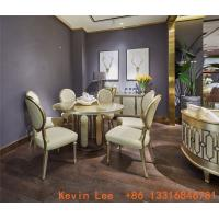 Luxury dining room furniture circle table on golden leaf painting with Stainless steel legs used by Beech wood chairs Manufactures