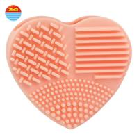 Super Ability Household Pink Orange Scrubber Rubber Silicone Heart Brush Mat  Make up Rotating Cleaner for cleaning Manufactures
