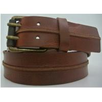 China Comfortable Brown Casual Leather Belts For Jeans Two Pronged Buckles on sale