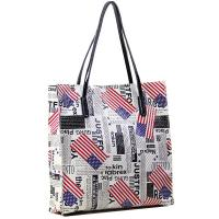 American Flag and Newspaper Prints Leather Shopper Tote Warehouse Handbags Manufactures