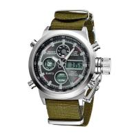 China Mens Sport Style Stainless Steel Caseback Watches , Dual Time Digital Analog Watch With Nylon Strap on sale