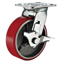 """Buy cheap Heavy Duty 8""""x2"""" Swivel Caster With Side Brake Red PU Polyurethane on Iron from wholesalers"""