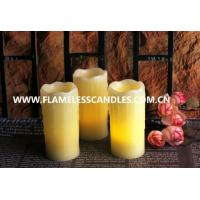 Ivory Wax Unscented Amber LED Flickering Flameless Candles with Melted Edge Manufactures