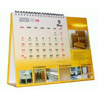 Desk Calendar Printing , Yellow Table Calendar With Silver YO Ring Bound Manufactures