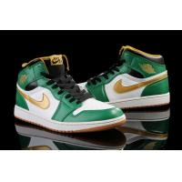 Top quality NIKE Air JORDAN RETRO 1 MEN BASKETBALL SHOES SNEAKERS green white gold color Manufactures