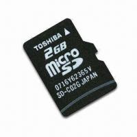Quality microSD/T-Flash Card by Toshiba, with 2GB Memory Capacity and FAT32 File Format for sale