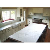 Pure White Glossy Natural Marble Kitchen Island , Honed Marble Countertops Manufactures