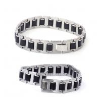 Fashion mens jewelry men bracelet stainless steel plus Silicon bracelets jewelry wholesale Manufactures