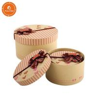 2 Pieces Paper Gift Packaging Box Glossy Lamination Round Present Packaging Case Manufactures