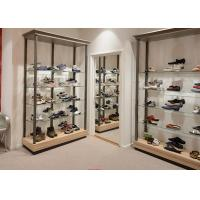 Durable Inexpensive Shoe Display Cabinet / Glass Shoe Shelves Simple Modern Design Manufactures