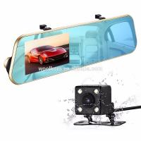China Double lens rearview mirror 4.3 inch vehicle recorder 1080P high-definition night vision parking control on sale