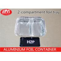H2P Aluminium Foil Products 1000ml Volume Tin Foil Food Containers 2 Compartments Manufactures