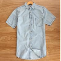 China Foreign trade The original single summer men's washing to do the old half sleeve thin blue denim shirt casual on sale