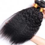 Brazilian / Peruvian Kinky Straight Virgin Human Hair Bundles With Natural Color Manufactures