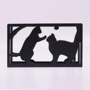 China Rectangular Metal Tissue Holder / Stand Up Napkin Holder Cute Cat Design on sale