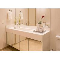 White Nano Glass Bathroom Vanity Countertops With Sink / Cabinet Manufactures