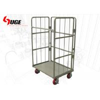China Collapsible 3 Sides Roll Container Trolley / Warehouse Cage Trolley on sale