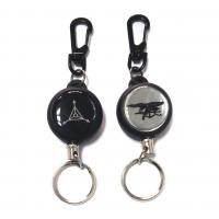 Airport / Hotel Black Retractable Id Card Reel With 60Cm Length Nylon Cord Manufactures