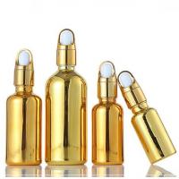 China Durable Frosted Glass Containers , Travel Portable Small Gold Dropper Bottle on sale