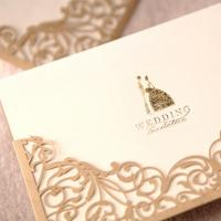 Floral Laser Cut Invitations Cards For Gold Wedding Invitations Printable Paper Blank Convite do casamento Manufactures