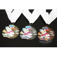 Buy cheap Soft Enamel Sports Medals And Ribbons With Black Nicekl Plating , Sublimated Ribbon from wholesalers